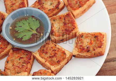 Minced pork toast Fried bread with minced pork spread (Thai food)
