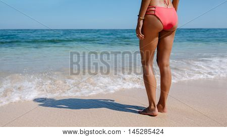 Rear view cropped shot of female in bikini standing on the sea shore. Young woman in swimsuit relaxing on the sea shore.