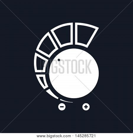 Volume Control Isolated on Black Background, Power Control, Vector Illustration