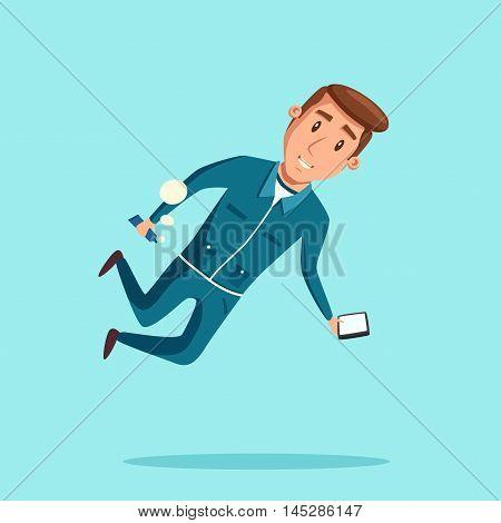 Cosmonaut in zero gravity. Vector cartoon illustration. Astronaut character in flight.