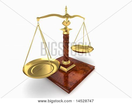 Symbol Of Justice. Scale On White Isolated Background