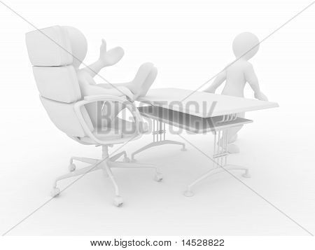 Boss Fires Employee On White Isolated Background