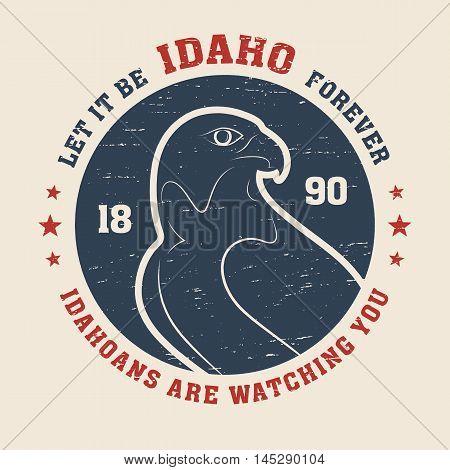 Idaho T-shirt Design, Print, Typography, Label With Peregrine. Vector Illustration.