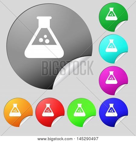 Chemistry Icon Sign. Set Of Eight Multi Colored Round Buttons, Stickers. Vector