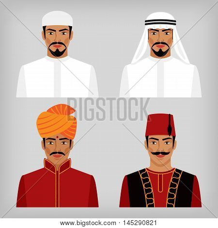 Eastern men in traditional clothes. vector illustration - eps 8