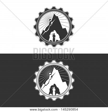 Miner against Mountains in Gear on White and Gray Background , Mining Industry Logo Design Element, Mine Shaft Concept, Vector Illustration