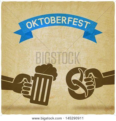 Oktoberfest concept. Hand with beer mug and pretzel old background. vector illustration - eps 10