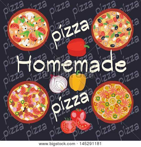 Vector Flat Homemade hot pizza icons set. Posters design of italian pizza restaurant flyer or banner. Pizzeria cooking background illustration