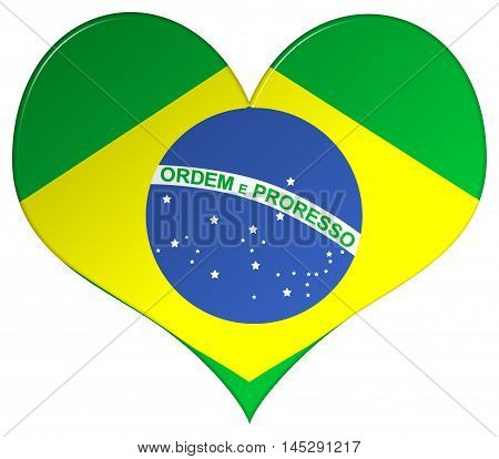 Brazil flag heart shape 3d illustration with a bevel effect on an isolated white background with a clipping path
