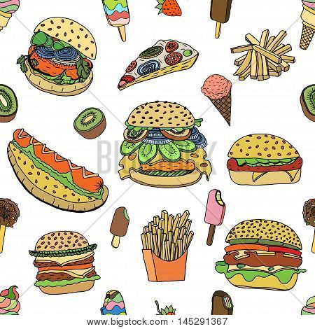 Seamless various food background in doodle style. Vector illustration