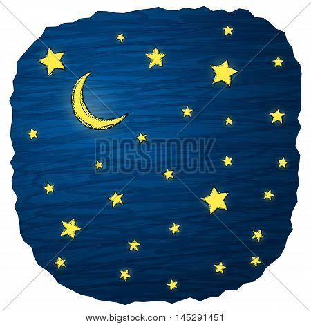 Night sky hand draw vector illustration with stars and moon