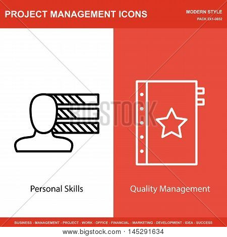Set Of Project Management Icons On Personality And Quality Management. Project Management Icons Can