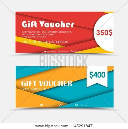 Design Of Gift Vouchers In Style Of Material Design