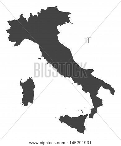 Italy map grey vector isolated high res