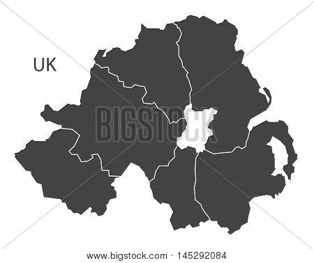 Northern Ireland map with counties grey vector isolated high res
