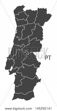 Portugal map with districts grey vector isolated high res