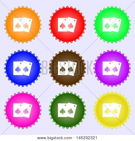 Game Cards Icon Sign. Big Set Of Colorful, Diverse, High-quality Buttons. Vector