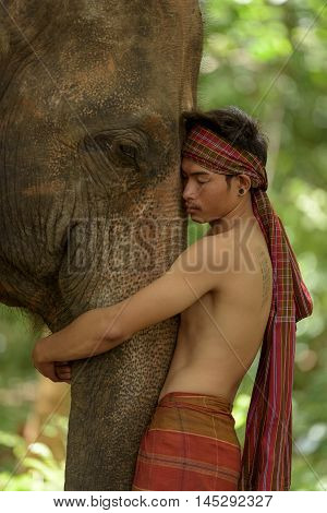 Lovely relationship between human and elephant in nature