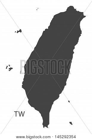 Taiwan map grey vector isolated high res