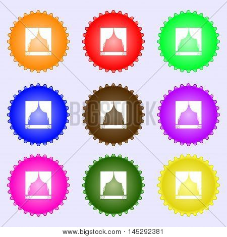 Window Curtains Icon Sign. Big Set Of Colorful, Diverse, High-quality Buttons. Vector