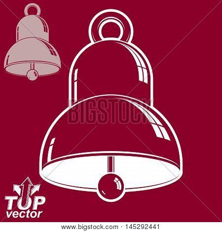 Vector 3d festive bell illustration. Ring smooth dimensional design element.
