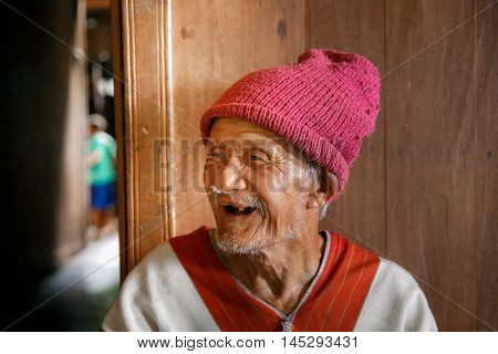 MAE KAM PONG MAEHONGSON THAILAND - October 10: unidentified man Karen hill tribe is smiling in the cottage of northern Thailand on October 10, 2015 in Maehongson Thailand.