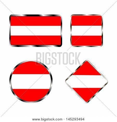 Vector illustration of logo for the country of Austria. Isolated in the drawing consists of flag chrome frame contingent European design on a white background. Badge for government states atlas map