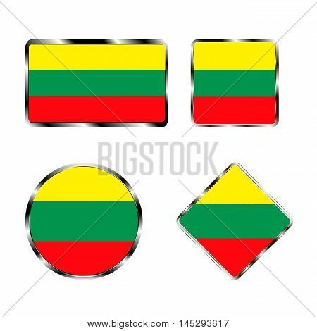 Vector illustration of logo for the country of Lithuania. Isolated in the drawing consists of flag chrome frame contingent European design on a white background. Badge for government states atlas map