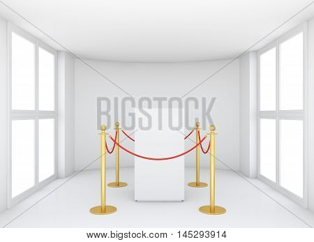 Empty showcase with tiled stand barriers for exhibit. Isolated on white background. 3D rendering