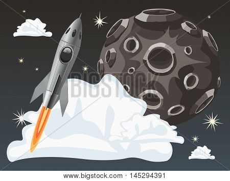 Rocket space ship on dark sky background with moon. Vector Illustration