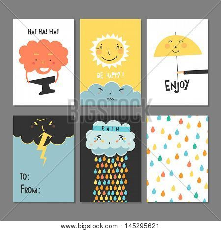 Cards set - Autumn,  rain, clouds, bad weather , good mood