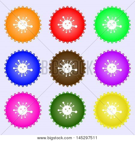Bacteria Icon Sign. Big Set Of Colorful, Diverse, High-quality Buttons. Vector