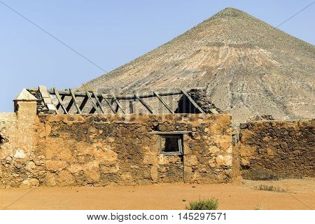 Abandoned building near Casa de los Coroneles, La Oliva, located in the northern part of the island of Fuerteventura in the Province of Las Palmas, Canary Islands, Spain.