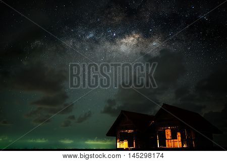Clearly milky way over the twin house