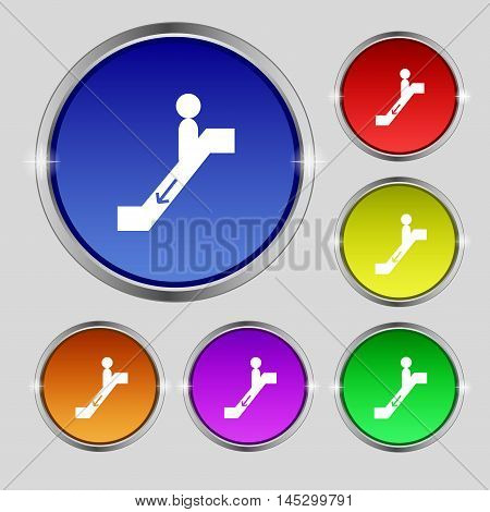 Escalator Down Icon Sign. Round Symbol On Bright Colourful Buttons. Vector