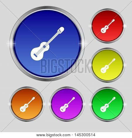 Acoustic Guitar Icon Sign. Round Symbol On Bright Colourful Buttons. Vector