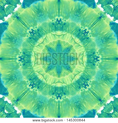 Green Mandala with art handmade texture. Kaleidoscopic sacred geometry element. Alchemy religion philosophy astrology and spirituality themes. Magic abstract sign. Universal background for everything.