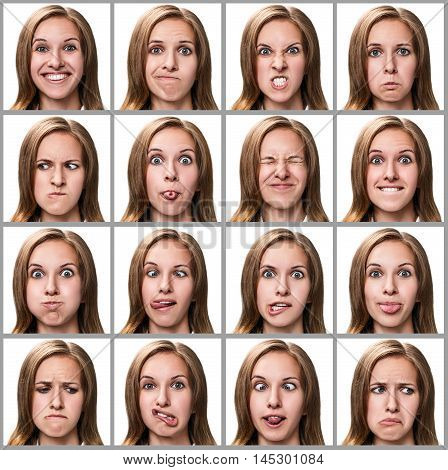Multiple close-up portraits of the same woman expressing different emotions isolated on white