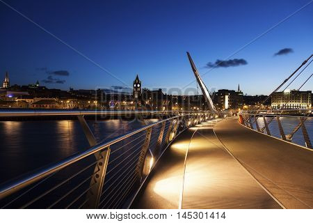 Peace Bridge in Derry. Derry Northern Ireland United Kingdom.