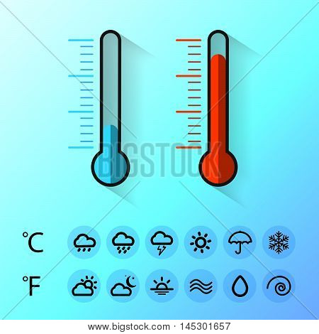 Weather temperature cold and hot icons symbol. vector illustrator