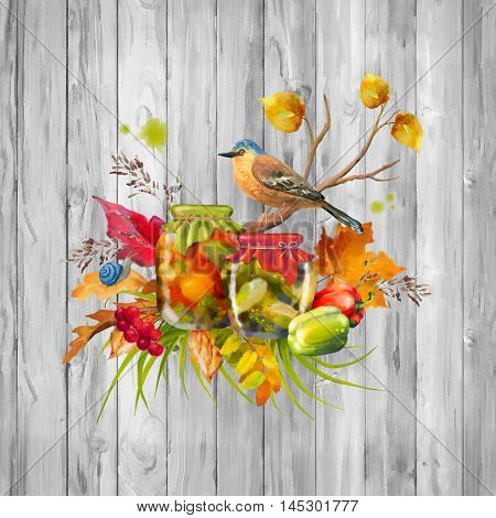 Autumn composition with homemade preserves tree branch bird fall leaves pepper snail on wooden background. Watercolor painting with paper texture drips paint smudges