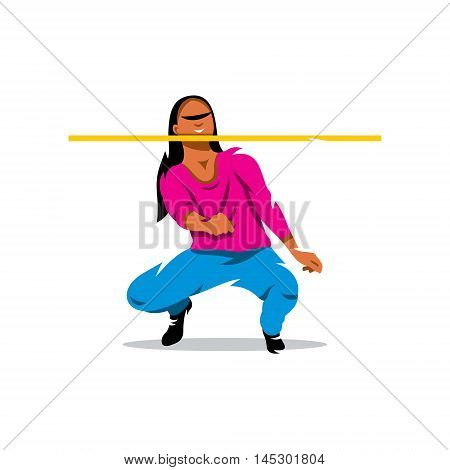 Woman under the stick. Isolated on a white background