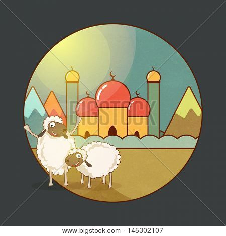 Sheep's in front of colorful Mosque for Muslim Community, Festival of Sacrifice, Eid-Al-Adha Mubarak.