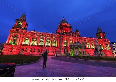 Illuminated Belfast City Hall. Belfast Northern Ireland United Kingdom.