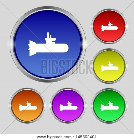 Submarine Icon Sign. Round Symbol On Bright Colourful Buttons. Vector