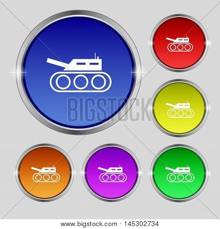 Tank, War, Army Icon Sign. Round Symbol On Bright Colourful Buttons. Vector