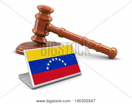 3D Illustration. 3d wooden mallet and Venezuela flag. Image with clipping path