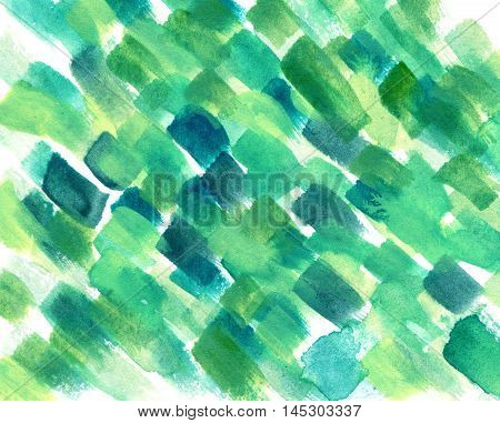 Abstract watercolor colorful texture. Art design in green colors. Backdrop of paint texture. Splatter paint splash background textures. Made by gouache and watercolor paint. Colorful brush strokes.