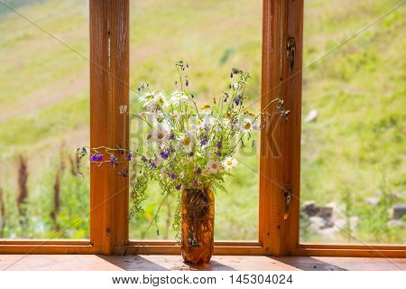 Bouquet Of White Daisies On Window Sill