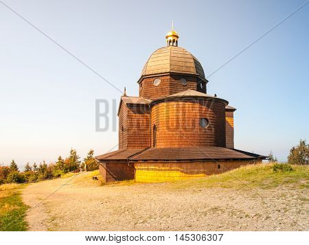 Wooden Chapel of St. Cyril and St. Methodius on the top of Radhost Mountain in Beskids, aka Beskydy Mountains, Moravia, Czech Republic